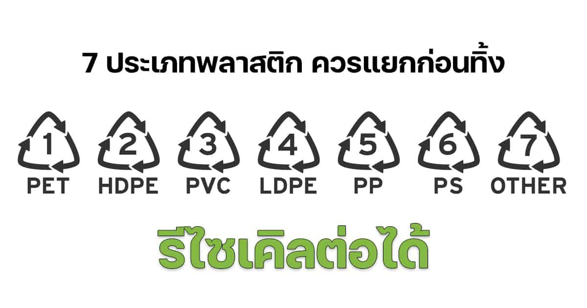 7 ประเภทขยะพลาสติกที่รีไซเคิลได้